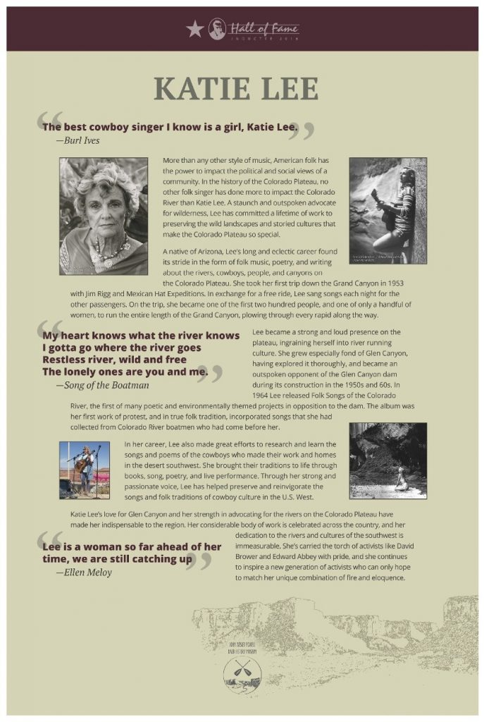 Katie Lee River Runners Hall Of Fame Poster