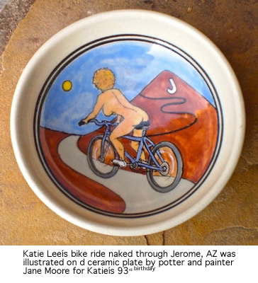 """Katie Lee Naked Bike Ride Through Jerome"" ceramic plate by Jane Moore"
