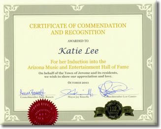 Town of Jerome, Arizona: Certificate of Commendation and Recognition